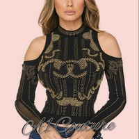 Caryl Cut-Out-Shoulder Beaded Crop Top