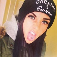 Perfect Cocaine&Caviar Hiphop Women Men Beanies Winter Knit Hat Cap