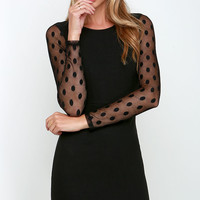 Save Me a Spot Black Long Sleeve Polka Dot Dress
