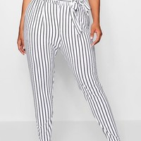 Plus Stripe Paper Bag Waist Trouser | Boohoo