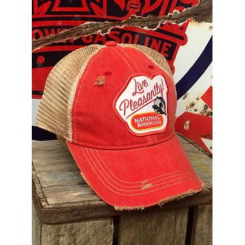 National Bohemian Live Pleasantly Beer Hat- Distressed Red