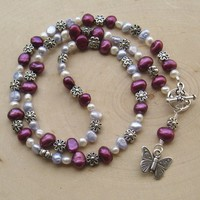 Deep Pink, Blue, White Freshwater Pearl, Flower, Butterfly Necklace