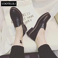 COOTELILI 35-39 Spring Casual Flats Women Shoes Solid Platform Slip-On Round Toe Loafers British Style Oxfords Woman