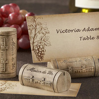 Maison du Vin- Wine Cork Place Card/Photo Holder with Grape-Themed Place Cards (Set of 4); Rustic Wedding Decorations, Placecard Holders