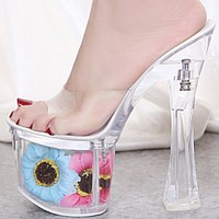 Hot sale sexy sunflower stiletto platform transparent crystal shoes