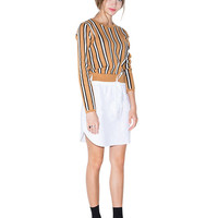 Khaki Striped Knit Top Drawstring Waist Spliced  Dress