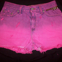 High Waisted Ombre Fuchsia Distressed Studded by DenimAndStuds