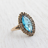 Vintage Blue Glass and Rhinestone Ring - Size 8 Late Art Deco 1940s Rolled Gold Jewelry / Marquise Ocean