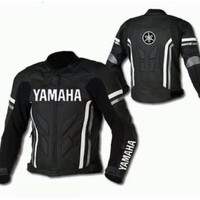Black Yamaha motorycle jacket with armor protection