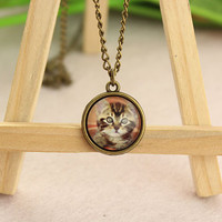 necklace--lovely cat necklace,retro bronze charm necklace,glass cover the picture,alloy chain