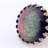Rainbow flakes adjustable ring, glitter jewelry, statement ring, gift for her