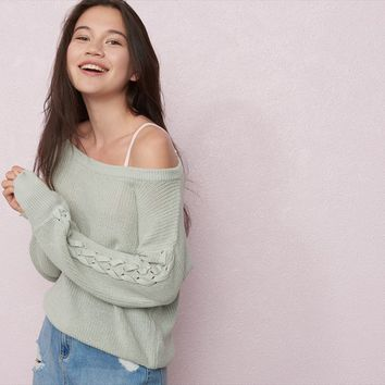 Slouchy Lace-Up Sleeve Sweater