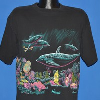 90s Swimming Dolphins Hawaii Coral Reef t-shirt Large