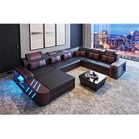 Concrete Splintered L Shaped Sectional Leather Sofa With LED Light