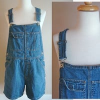 Vintage 1980s Denim Overalls / 80s Shorts / Size Medium Old Navy
