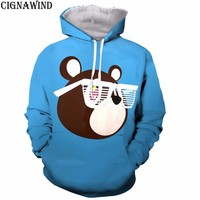 New arrive Kanye West Graduation Bear hoodies men women sweatshirts 3D print Novelty harajuku streetwear unisex tracksuit tops