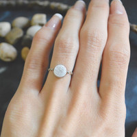 E-041 Hammered ring, Coin ring, Circle ring, Chain ring, Simple ring, Modern ring, Rhodium plated ring/Everyday/Gift/