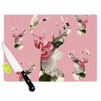 """Suzanne Carter """"Floral Deer"""" Pink White Cutting Board"""