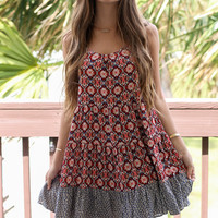 Desert Market Multi Floral Print Tiered Tank Dress With Peephole Back