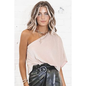 Upper West Side Pink Champagne One Shoulder Top