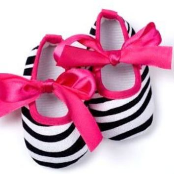 Kidorables | Zebra Hot Pink Tie Crib Shoes | Online Store Powered by Storenvy