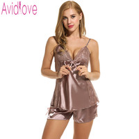 Avidlove Brand Sexy Sleepwear Women Cloth Summer Shorts Pajamas Set Sexy Satin Lingerie Nightgown Spaghetti Strap Sexy Pajamas