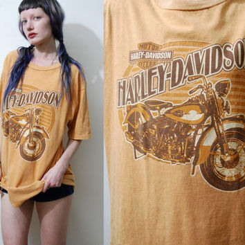 90s Vintage HARLEY DAVIDSON T-shirt Eagle Top Grunge Biker Motorcycle Tshirt Oversized Orange Cotton 1990s vtg