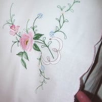 White Pillowcase, Pink Embroidery, Floral Embroidery, Housewife Pillow Case, Bed Linen, Embroidered, Farm House Chic, Cottage Chic, Recycled