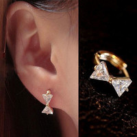 Bow Collar Rhinestone Earrings