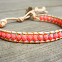Beaded Leather Single Wrap Stackable Bracelet with Pink Coral Czech Glass Beads on Natural Tan Leather