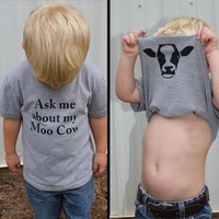 Ask My Moo Cow Letter Cute Kid Boy Short Sleeves Tops T-Shirt Cow Inside Clothes Fashion Funny Kids Boys Toddler