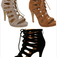 Brand New Women's Fashion Cut Out Lace Up High Heel Stiletto Pumps Sandals Shoes