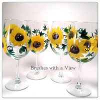 Hand Painted Sunflower WIne Glasses Set of 4
