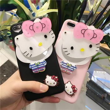 cute hello kitty cat mirror soft cover for apple iphone 6 6s 6P plus 5.5  iPhone7 7P 8 8P X soft Silicone mobile phone Case