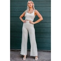 Rest & Relaxation Ribbed Two-Piece Set (Heather Grey)