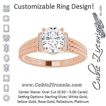 Cubic Zirconia Engagement Ring- The Junio (Customizable 11-stone Design featuring Oval Cut Center, Vertical Round-Channel Accents & Wide Triple-Rope Band)