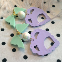 Mint, Opal, and Lilac Sweetheart Earrings