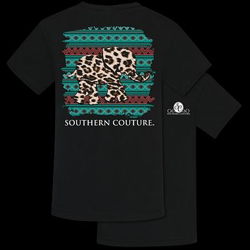 Southern Couture Leopard Elephant Comfort Colors T-Shirt