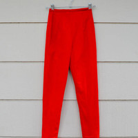 Vintage Lanz Capri Pants, Red Wool Pants, Junior Size 9 or Women's XXS, Skinny Leg,  1960s