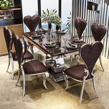 Bright Luxury With Heart shaped Chair Dining Set