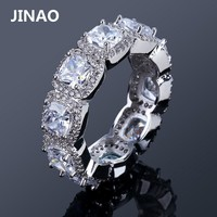 JINAO 1 Row Zircon Ring Silver Color Plated Iced Out Micro Pave CZ Stone Charm Wedding Ring For Women Hip Hop Punk Bling Jewelry