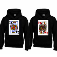 KING and QUEEN Hoodies+Your NAMES on the back or any text