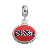 Fiora Sterling Silver Ole Miss Rebels Logo Charm (Grey)