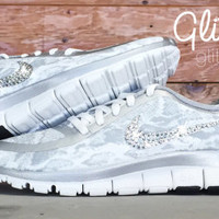 Nike Free Run 5.0 V4 PT Glitter Kicks Running Shoes Blinged Out With Swarovski Elements Crystal Rhinestones - White Silver Snake Print