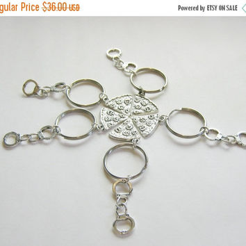 SPRING SALE SAVE 30% 5 Pizza Handcuff Partner In Crime Best Friends Keychains, 5 Best Friends, 5 Pizza Keychains, Pizza Keychain, Five Best