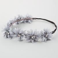 Full Tilt Chiffon Flower Headband Grey One Size For Women 21998711501