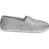 TOMS - Youth Silver Iridescent Glimmer Classics Slip-Ons