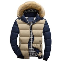 Winter Mens Jacket with Faux Fur Collar
