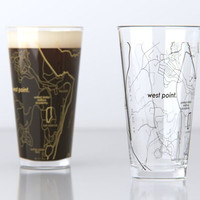 West Point, NY - U.S. Military Academy - College Town Map Pint Glass Set