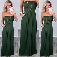 Your So Classic Pocket Maxi Dress - Olive